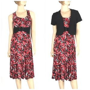 Perceptions NY Red Black 2 Piece Career Dress 12